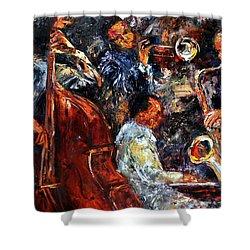 Hot Jazz Three Shower Curtain by Debra Hurd