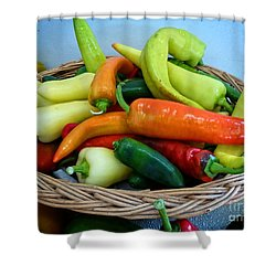 Hot Peppers Shower Curtain by Dee Flouton