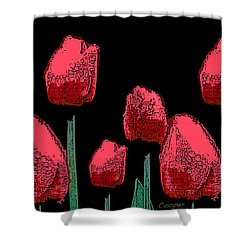 Hot Red Tulips Shower Curtain