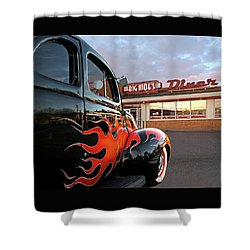 Hot Rod At The Diner At Sunset Shower Curtain