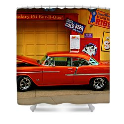 Hot Rod Bbq Shower Curtain by Perry Webster