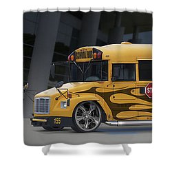 Hot Rod School Bus Shower Curtain