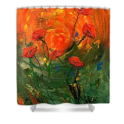 Hot Summer Poppies Shower Curtain