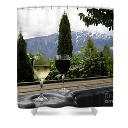 Hot Tub And Wine Shower Curtain by Robert Meanor