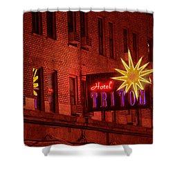 Hotel Triton Neon Sign Shower Curtain