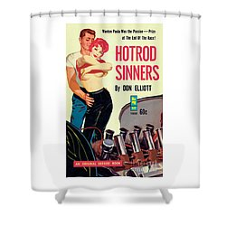 Shower Curtain featuring the painting Hotrod Sinners by John Duillo