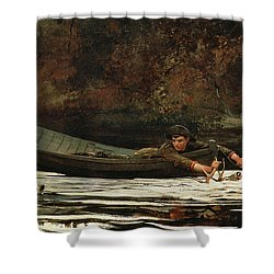 Hound And Hunter Shower Curtain by Winslow Homer