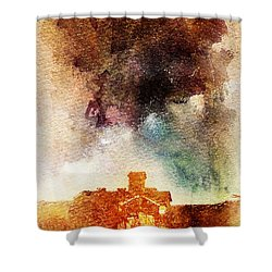 House And Night Shower Curtain by Andrea Barbieri