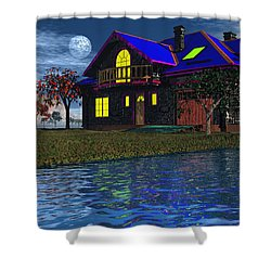 House By The River  Shower Curtain by Mark Blauhoefer