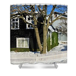 Shower Curtain featuring the photograph House In Reykjavik Iceland In Winter by Matthias Hauser