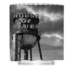 Shower Curtain featuring the photograph House Of Blues B/w by Laura Fasulo