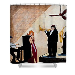 Shower Curtain featuring the painting House Of The Rising Sun by Barbara McMahon