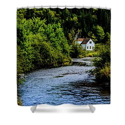 House On Margaree River Shower Curtain by Ken Morris