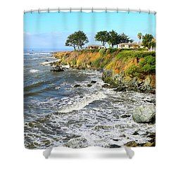Shower Curtain featuring the photograph House On The Point Cayucos California by Barbara Snyder