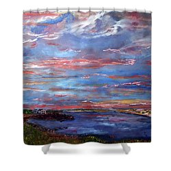 Shower Curtain featuring the painting House On The Point Sunset by Michael Helfen