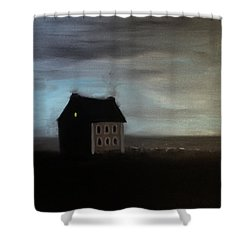 Shower Curtain featuring the painting House On The Praerie by Tone Aanderaa