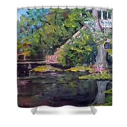 Shower Curtain featuring the painting House On The River by Jim Phillips
