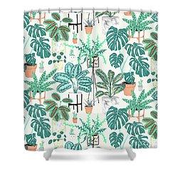 House Plants Teal Shower Curtain