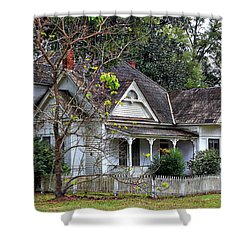 House With A Picket Fence Shower Curtain by Lynn Jordan