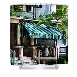 House With Green Striped Awnings Shower Curtain by Susan Savad