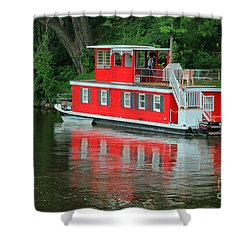 Houseboat On The Mississippi River Shower Curtain by Teresa Zieba
