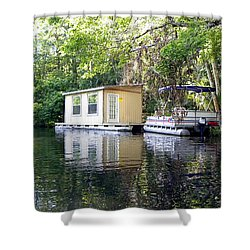 Shower Curtain featuring the photograph Houseboat On The Wekiva River  by Chris Mercer