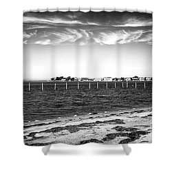 Shower Curtain featuring the photograph Houses Across Barnegat Bay by John Rizzuto