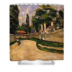 Houses Along A Road Shower Curtain by Paul Cezanne