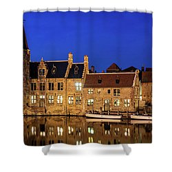 Shower Curtain featuring the photograph Houses By A Canal - Bruges, Belgium by Barry O Carroll