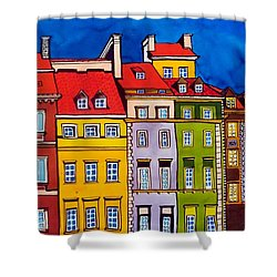 Houses In The Oldtown Of Warsaw Shower Curtain by Dora Hathazi Mendes