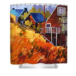 Shower Curtain featuring the painting Houses On The Hill by Rae Andrews