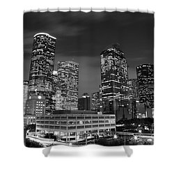 Houston By Night In Black And White Shower Curtain