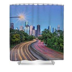 Houston Evening Cityscape Shower Curtain