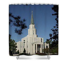 Shower Curtain featuring the photograph Houston Lds Temple by Marie Leslie