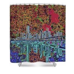 Houston Skyline Abstract 3 Shower Curtain