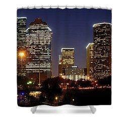 Houston Skyline At Night Shower Curtain