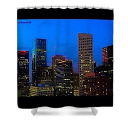 #houston #skyline At #night. #lights Shower Curtain