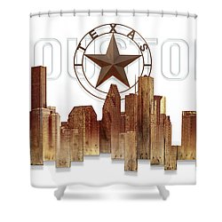 Shower Curtain featuring the painting Houston Texas Skyline by Doug Kreuger