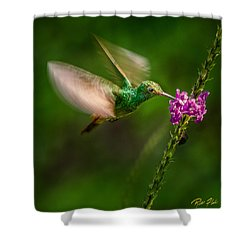 Shower Curtain featuring the photograph Hovering In The Vervain  by Rikk Flohr