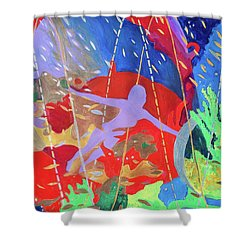 Shower Curtain featuring the painting How To Survive The Space-time Continuum by Denise Weaver Ross