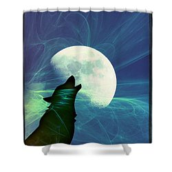 Howling Moon Shower Curtain by Amanda Eberly-Kudamik