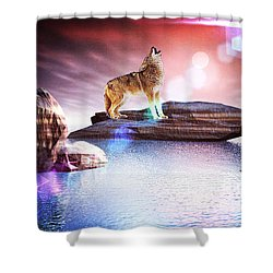 Howling Wolf Lomo Shower Curtain