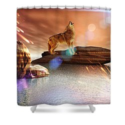 Howling Wolf Tropical Shower Curtain