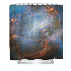 Shower Curtain featuring the photograph Hubble Captures The Beating Heart Of The Crab Nebula by Nasa