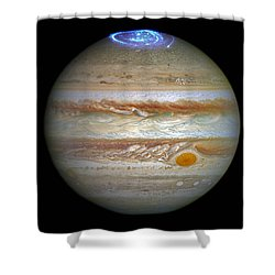 Shower Curtain featuring the photograph Hubble Captures Vivid Auroras In Jupiter's Atmosphere by Nasa