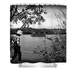 Huck Finn Type Walking On River  Shower Curtain