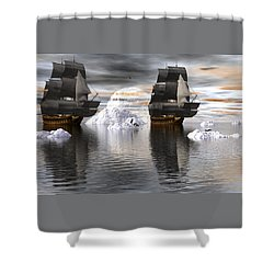 Shower Curtain featuring the digital art Hudson Bay Ships by Claude McCoy