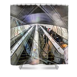 Shower Curtain featuring the photograph Hudson Yards Escalator Collage by Dave Beckerman