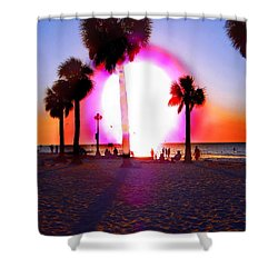 Huge Sun Pine Island Sunset  Shower Curtain by Expressionistart studio Priscilla Batzell