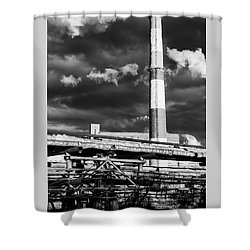 Huge Industrial Chimney And Smoke In Black And White Shower Curtain